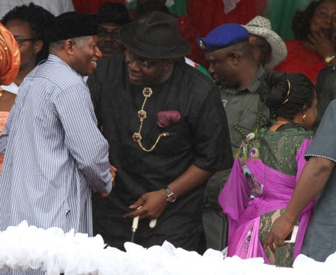 Bayelsa State Governor, Hon. Seriake Dickson (centre) welcomes the former President, Dr. Goodluck Jonathan (centre) accompanied by his wife, Patience (right backing camera) shortly on his arrival to attend the Governor declaration for 2nd term at the Sampson Sia-Sia Sport Complex in Yenagoa (Tuesday) September 8 2015