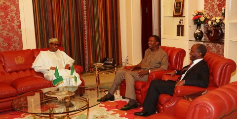 PRESIDENT BUHARI RECEIVES ADEBOYE 5. L-R; President Muhammadu Buhari, General Overseer, Redeemed Christian Church of God (RCCG), Pastor Enoch Adejare Adeboye and Vice President Prof Yemi Osinbajo during an audience with the President at the State house in abuja. PHOTO; SUNDAY AGHAEZE/STATE HOUSE. FEB 16 2016.