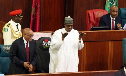 PRESIDENT BUHARI AND JACOB VISIT TO NASS. President Muhammadu Buhari, President Jacob Zuma and President of the Senate Dr. Bukola Sarki as President Zuma Addresses a joint session of the National Assembly in Abuja. PHOTO; SUNDAY AGHAEZE/STATE HOUSE. MARCH 8 2016