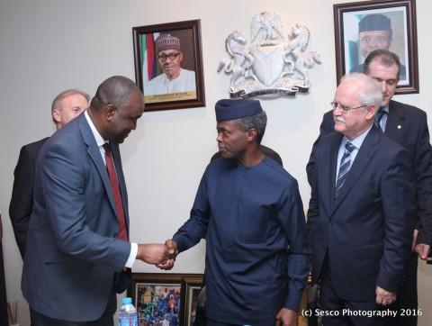 From Left - Chairman, Bresson Power Nigeria Limited, Mr Gbenga Olawepo-Hashim, Vice - President, Yemi Osinbajo and Slovakian Ambassador to Nigeria,Mr Peter Holasek at the State House Thursday