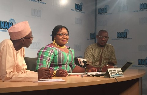 The Acting Managing Director of the Niger Delta Development Commission (NDDC), Mrs Ibim Semenitari being interviewed by the staffs of the News Agency of Nigeria in Abuja on Friday