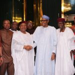 PRESIDENT BUHARI RECEIVES SOUTH-EAST GROUP FOR CHANGE 2. R-L; APC Chieftain, Lady Sharon Ikeazor, Chief of Staff, Mallam Abba Kyari, President Muhammadu Buahri, the former Senate President and Leader of South-East Group for Change, Senator Ken Nnnami, Senator Ifeanyi Arerume and other members of the SOUTH-EAST GROUP FOR CHANGE in audience with the President at the State House in Abuja. PHOTO; SUNDAY AGHAEZE. MAY 31 2016