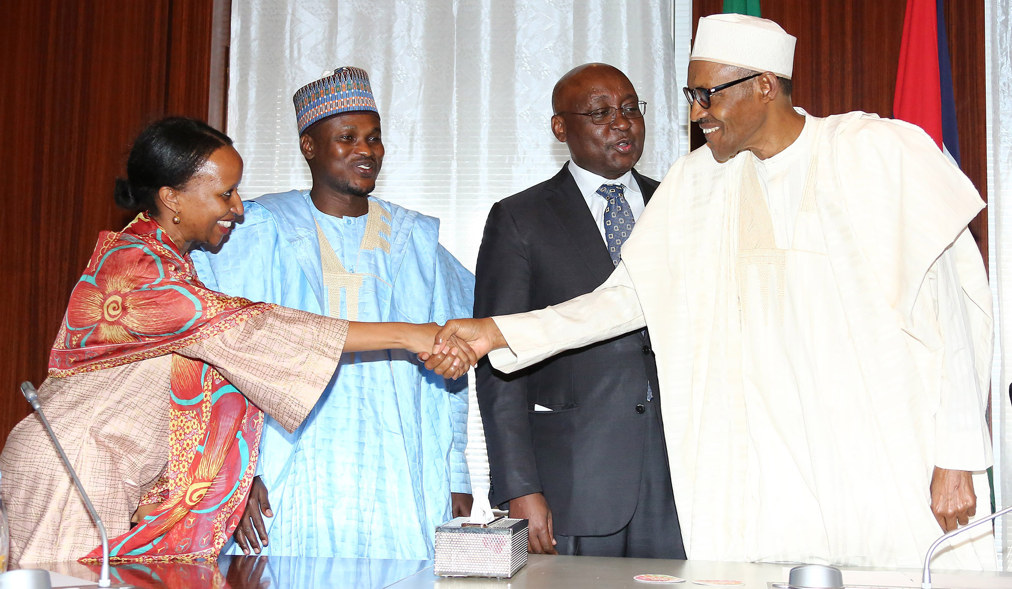 NIGERIA'S PRESIDENT BUHARI RECEIVES ENVOY OF AFRICAN UNION PEACE FUND 4. R-L;  President Muhammadu Buhari, Former President ADB and Special Envoy African Union Peace Fund, Dr Donald Kaberuka, African Union Senior Scientific Officer Coordination, Dr Mohammed Kyari and Ms Wanjiru Nwaura during an audience with the President at the State House in Abuja. PHOTO; SUNDAY AGHAEZE. JULY 11 2016