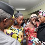 PHOTO NEWS: Vice President Osinbajo Receives Freed 21 Chibok Girls; Photo by Sunday Aghaeze