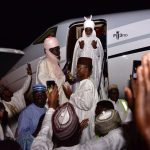 Photos: Deposed Emir of Kano, Sanusi Arrives Lagos