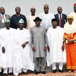 Members of the National CONFAB with President Jonathan, Vice President Sambo and some members of the executive council.