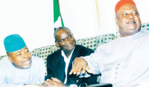 (L-R) Deputy Speaker House of Rep Emeka Ihedioha, Gov Fashola of Lagos and Sen Ayim Pius Anyim, Secretary to THE Government of the Federation