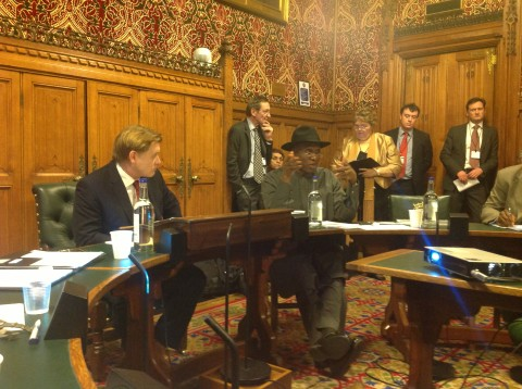 Governor Amaechi making his point at the House of Commons