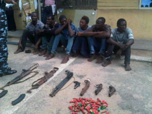 suspected armed robbers that were paraded by the Lagos state police command