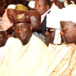 Lagos State Governor, Mr. Babatunde Fashola SAN (middle), former Governor of the State and National Leader of All  Progresives  Congress  (APC), Asiwaju Bola Ahmed Tinubu (left), Oba of Lagos,  Oba Rilwan Akiolu  (2nd right), and Bashorun of Lagos, Alhaji Sikiru Alabi -Macfoy during the Eid-el-kabir Prayers at the Central Mosque, Lagos on Tuesday October 15, 2013.