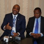 Nigeria's works Minister, Mike Onolememen (L) and Nigeria Ambassador to United States Prof. Ade Adefuye speaking to Journalists in Washington DC during the US-Nigeria Infrastructure conference Oct 10-11 2012.Photo: African Examiner