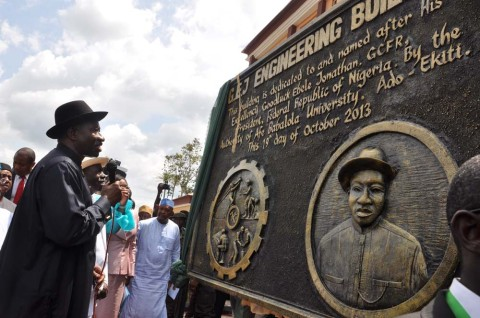 President Goodluck Jonathan commissions the engineering building dedicated to him by Afe Babalola University, Ado-Ekiti, Sat  10/18/13…/Photo State House