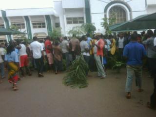 Protesters at University of Nigeria, Usuka, Enugu State