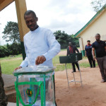 Governor Chime casting his votes during Saturday's LGA