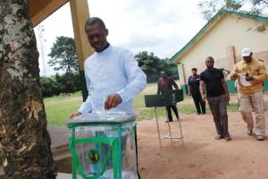 Governor Chime casting his votes during Saturday's LGA