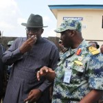 Bayelsa State Governor, Hon. Seriake Dickson wiping tears from his eyes  shortly after visiting the remains of the Governor of Kaduna, His Excellency, Patrick Yakowa and Late General Owoye Azazi who died in the ill-fated helicopter crash at the Federal Medical Centre Mortuary, Yenagoa, while the Chief of Naval Staff. Vice Admiral Dele Ezeoba (right) looks on. Photo by Lucky Francis, Government House, Yenagoa.