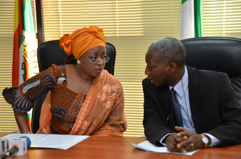 Minister of Petroleum Resources Mrs. Diezani Alison-Madueke and the Director, Department of Petroleum Resources (DPR) Engr. George Osahon at the flagging off of the Second Marginal Field Licensing Round