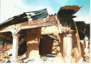 one of the razed buildings