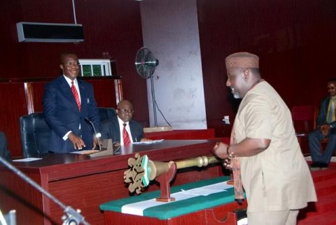 Governor Okorocha of Imo state presenting the budget to the state assembly
