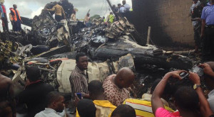 scene of the plane crash carrying late Agagu's remains