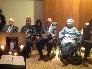 (L-R) Amb. Jeter (former US Amb. To Nigeria) Amb Ade Adefuye  (Nigeria Amb. in US) Ojo Maduekwe (Nigeria Amb. In Canada) Prof. Lar (Wife of the late elder statesman) at the song of service in Washington DC, Sunday Oct. 13, 2013