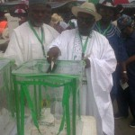 Chief of Staff to the President, Chief Mike Ogiadhome casting his ballot at  the just concluded PDP special national convention, Abuja, under the watch  of Etsako Central chairman