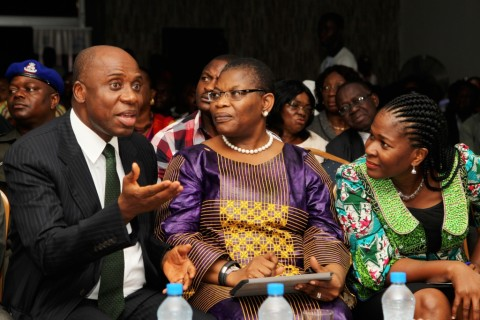 L-R. Rivers State Governor, Rt. Hon. Chibuike Amaechi, former minister for education Dr. Oby Ezekwesili and founder Rainbow Book Club   Mrs Koko Kalango during the Port Harcourt book festival 2013 in Port Harcourt, Tuesday. 22/10/13