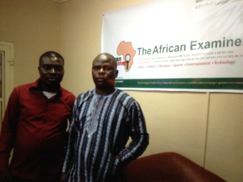 Mr Sunday Fase (R) Publisher/Editor-in-Chief of African Examiner and the Managing Editor, Mr Femi Kehinde