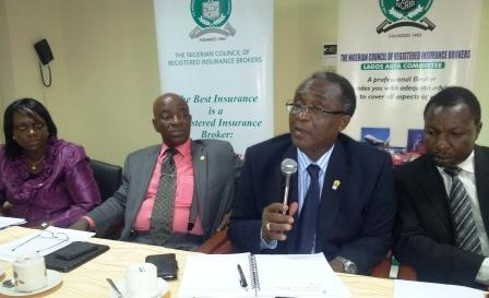 Board Member of the Nigerian Council of Registered Insurance Brokers (NCRIB), Mrs. Adesola Williams; NCRIB Deputy President, Mr. Kayode Okunoren; Council President, Mr. Ayodapo Shoderu, and Council Treasurers, Mr. Biodun Durodola, during a media parley with insurance correspondents in Lagos.