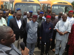 Gov. T A Orji during the presentation of subsidized bus scheme to members of the public