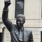Statue of former South African President Nelson Mandela after the unveiling at the South African Embassy, Washington, D.C., Sept. 21, 2013 (P. Ndiho/VOA).
