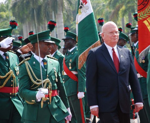 AMBASSADOR TO NIGERIA, MR JAMES ENTWISTLE INSPECTING GUARD OF HONOUR MOUNTED BY THE NIGERIAN ARMY WHEN HE CAME TO PRESENT HIS LETTER OF CREDENCE TO PRESIDENT GOODLUCK JONATHAN AT THE PRESIDENTIAL VILLA ABUJA ON TUESDAY (26/11/13).U.S