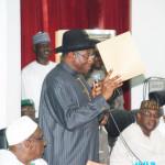 Photo News: Jonathan Announces Bamanga Tukur's Resignation Letter at PDP NEC Meeting