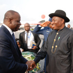 Photo News: Jonathan Arrives Abidjan for a meeting of ECOWAS Heads of State with Japanese Prime Minister