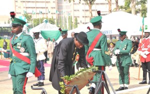 President Goodluck Jonathan Lays Wreath During The Armed Forces Remembrance Day Celebrations on Wednesday In Abuja.