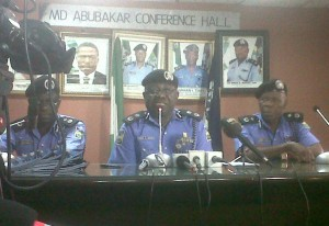 Lagos State Commissioner of Police, Umar Manko (M) addressing newsmen in Lagos on Tuesday, Feb. 11, 2014