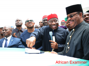 President Goodluck Jonathan (2nd R) Switch On Automated Construction Equipment To Perform The Ground Breaking Ceremony For The Construction Of Second Niger Bridge