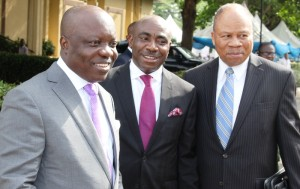 From left: Governor Emmanuel Uduaghan of Delta State, Senior Special Adviser to the governor on Foreign matters, Mr. Oma Djebah and Ambassador Sola Omoregie during the Preparatory Workshop for the United Nations Assessment of key sectors of Delta State Economy held in Government House, Asaba, Wednesday.