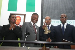 L–R: General Manager/Head, Listings Sales and Retention, Mrs. Taba Peterside; Managing Director, Chams Plc, Sir Demola Aladekomo; Executive Director, Business Development, The Nigerian Stock Exchange (NSE), Mr. Haruna Jalo-Waziri and Chairman, Chams Plc, Very Revered Ayodeji Richards at the Chams Plc Facts Behind the Figures presentation on the floor of The Nigerian Stock Exchange Wednesday, April 09, 2014