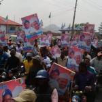 Photo News: Huge Crowd Welcomes Buhari To Fayose's Ekiti State