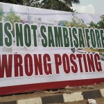 "Large Banner With ""This is not Sambisa Forest, Wrong Posting"" On Fence of Tinubu's Lagos Home"