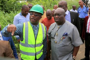 Governor Ikpeazu of Abia state on Road Inspection