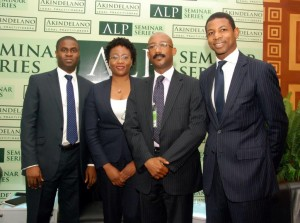 LtoR- Kalu Balogun AD Capital Projects PWC, Bola Bamidele, Senior Advisor Access Bank, Patrick Mgbenwelu, Head Debt Solutions FBN Capital Limited, and John Delano LL.B at the recent ALP Seminar Series on Infrastructure and Project Finance.