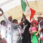 PDP Locks Down Bayelsa As Jonathan, Secondus, Mimiko Present Governorship Flag to Dickson