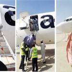 PHOTO NEWS: Shame As Nigeria's Aero Contractor Airline Uses Ladder To Disembark Passengers At Bauchi Airport