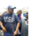 "Fayose Storms EFCC Office; His T-Shirt Reads ""EFCC I'm Here"""