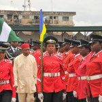 Gov Orji of Abia state Inspecting Guard of Honour by Nigerian Police during Nigeria 53rd Independence