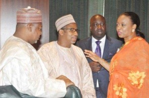 Some ministers exchanging pleasantries during the November 27th meeting of the Federal executive Meeting (FEC) in Abauja