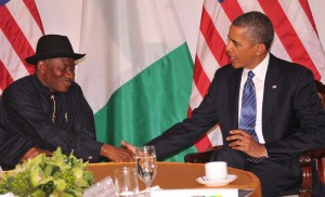 President Jonathan of Nigeria (L) and Barrack Obama of USA at a talk in New York