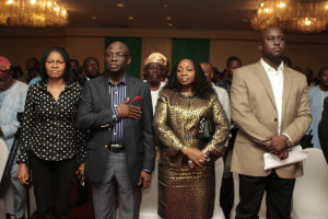 Dr Joe Okei-Odumakin (President, Center for Change, CFC.), Dr. Tunde Bakare ( Chairman, Board of Trustees, CFC ), Mrs Layide Bakare (President, Layide Bakare Foundation) and Prof. Pius Adesanmi ( Guest Speaker)